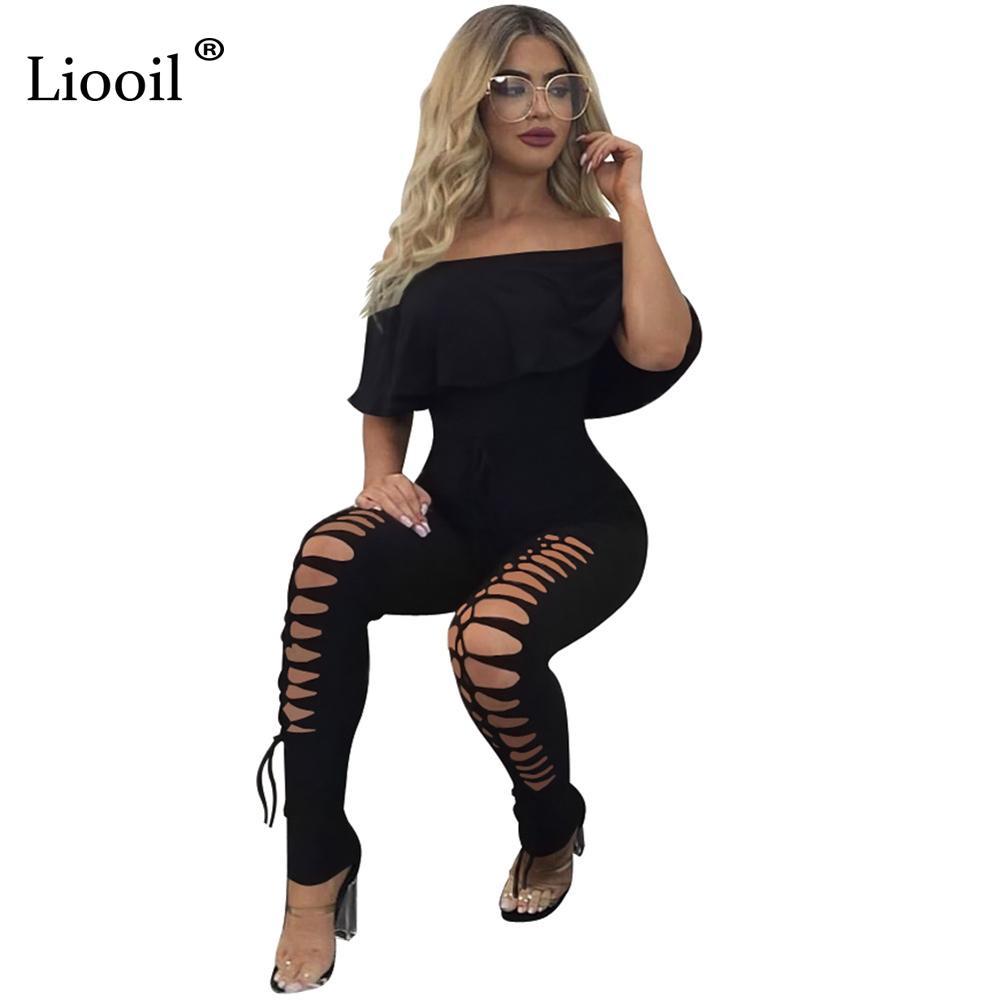 d9c45af945e Liooil New Style Ruffles Women Rompers Short Sleeve Slash Neck Cut ...