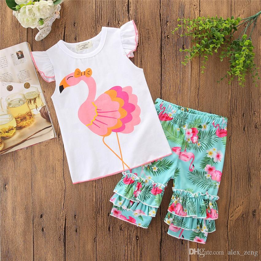 Baby Girls Sets INS Kids Fashion Flamingos Printed Lace White T Shirt + Short pants 2 pcs/set 2018 Summer Infant Toddlers Suits