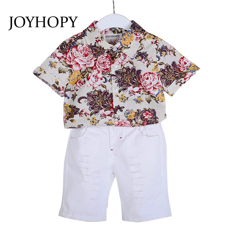 2573e62f320 2019 JOYHOPYchildren S Clothing Sets 2018 Spring Summer Baby Boy Suit Flower  Blouse Shirts + Shorts Kids Boys Clothes From Jeanyme