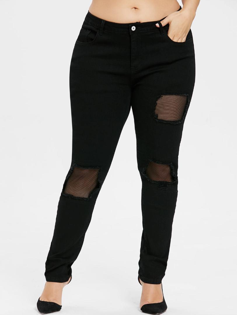 f27529b75 Compre Nuevo Tallas Grandes Para Mujer Pantalones Vaqueros Destruidos Mallas  Ajustadas Jeans Ajustados 2018 Negro Recta Media Cintura Color Sólido ...