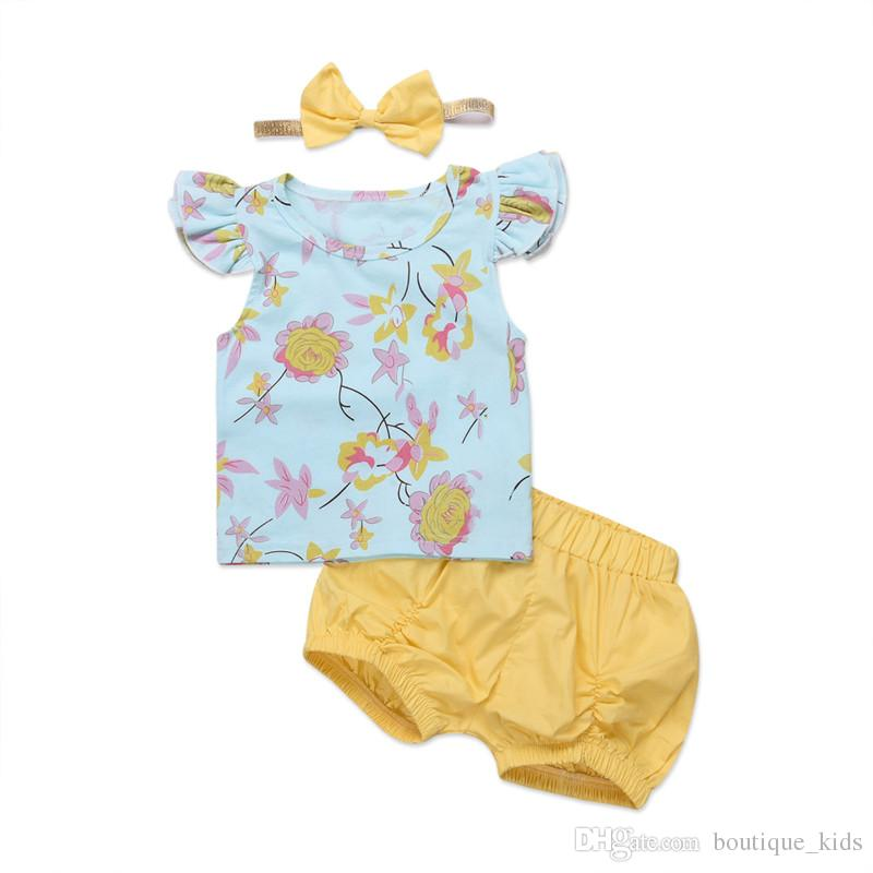 68b7d392cc3ee 2018 Summer Newborn Baby Girl Clothes Set Flying Sleeves Floral Tops  T-shirt Shorts Bottoms Headband 3PCS Baby Outfits Cute Girls Clothes