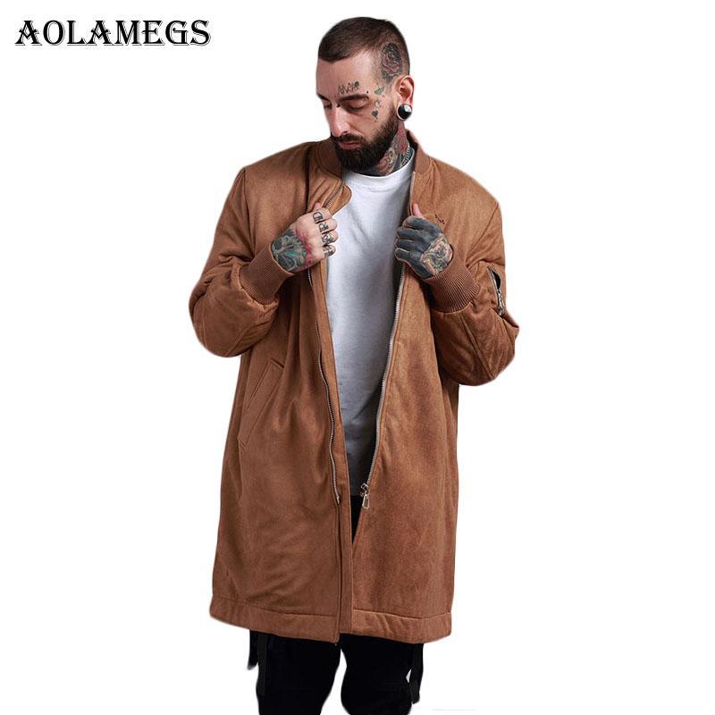 huge selection of 7b051 4aa58 Aolamegs Bomberjacke Männer Solide Dicke Wildleder Lange Herren Jacke Hip  Hop Fashion Outwear Herbst Männer Mantel Bombe Baseball Jacken