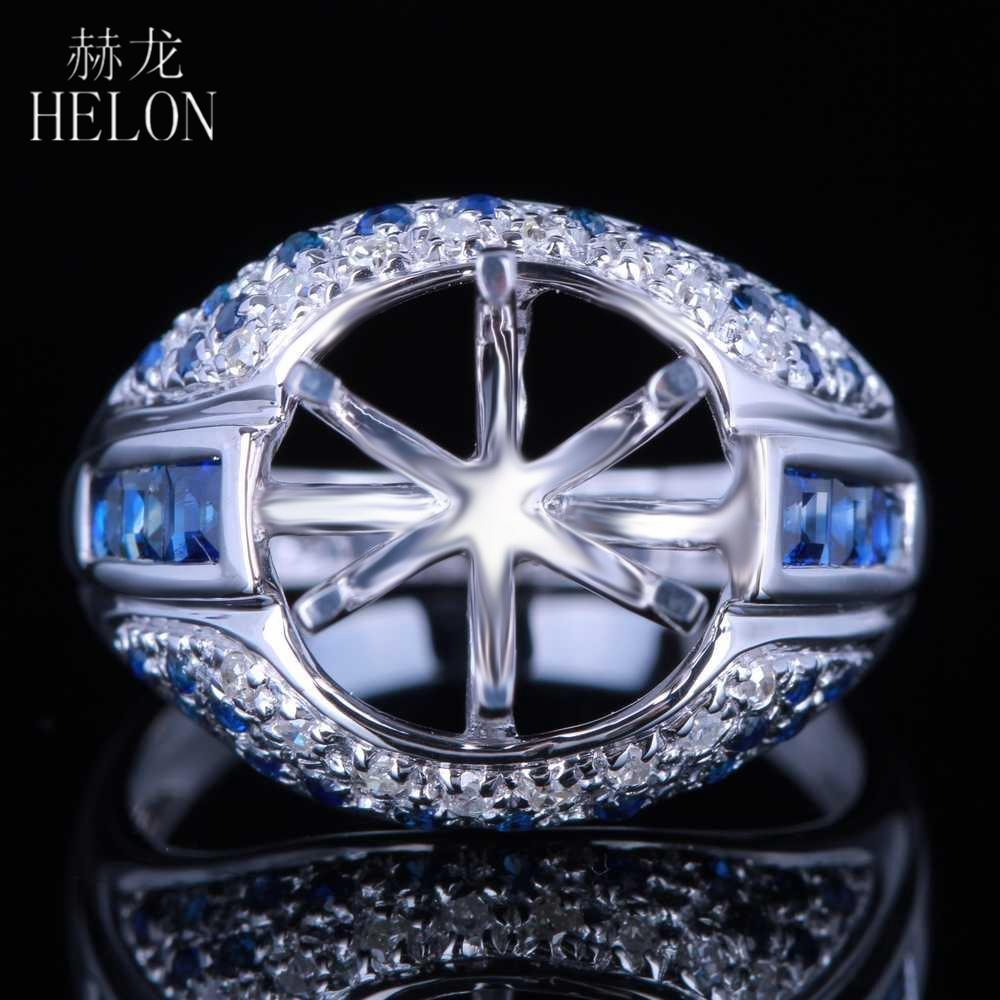 b594c0a221b Acheter HELON 10.5 11.5mm Rond Coupe Semi Mont Solide 14K Or Blanc  Véritable Naturel Diamant Saphirs Pierres Précieuses Bague De Fiançailles De   1911.56 Du ...