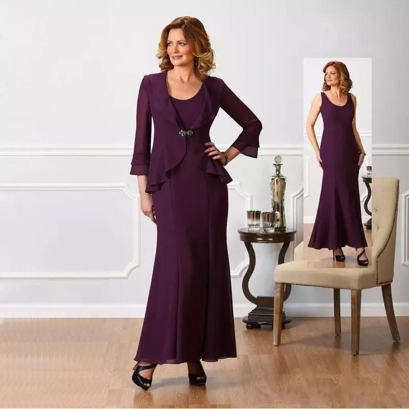 Chic Chiffon Plus Size Mother Of The Bride Dresses Jacket Long