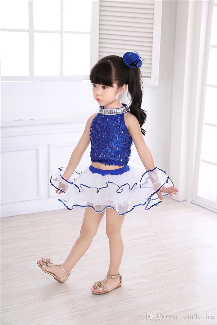 5 компл./лот девушки блестки пачка Сплит костюмы пузырь юбка детский сад детская производительность одежда латинский балет юбка детский день танцевальная одежда