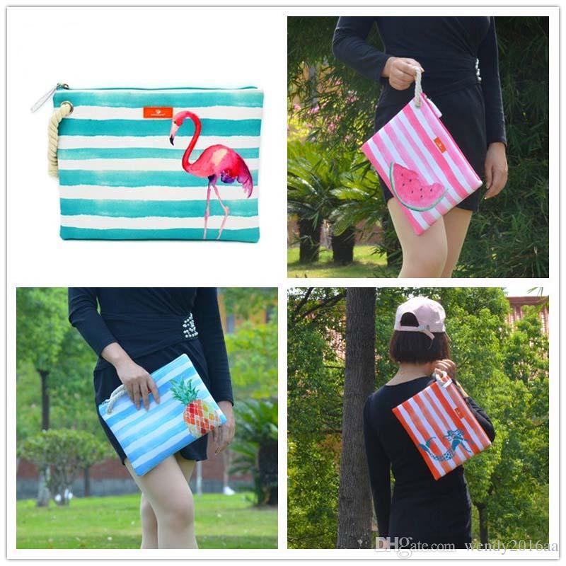 3 stücke 2018 Frauen Leinwand Wassermelone Obst Patten Flap Streifen Strandtaschen 5 farben Damen Reißverschluss Kosmetiktaschen