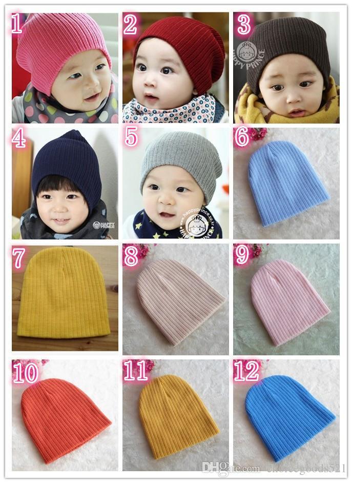 Compre Lana De Color Sólido Para Bebé Gorras De Punto Recién Nacido Otoño  Invierno Cálido Sombreros Lindos Niños Niños Niñas Gorras A  1.48 Del ... 0d7efdc38b1