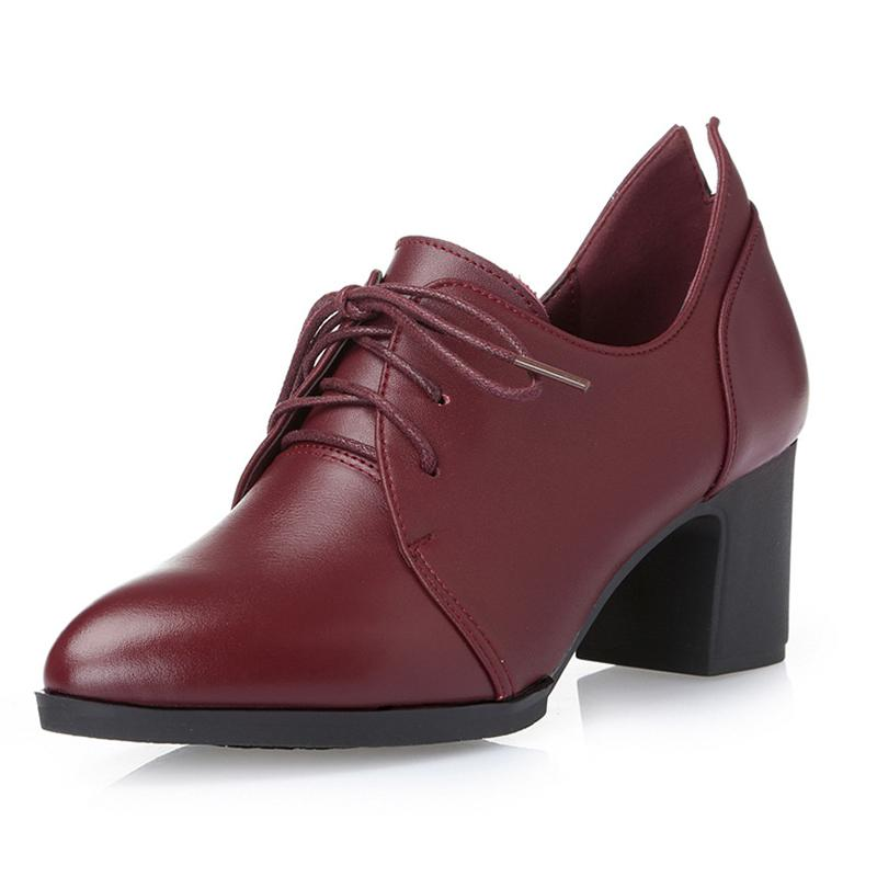 b78ec895a170 British Genuine Leather Round Toe Pumps Women Shoes 6cm Heels Oxford Shoes  Woman Lace Up For Ladies Spring Simple Rubber Shoes High Heels Heels From  ...