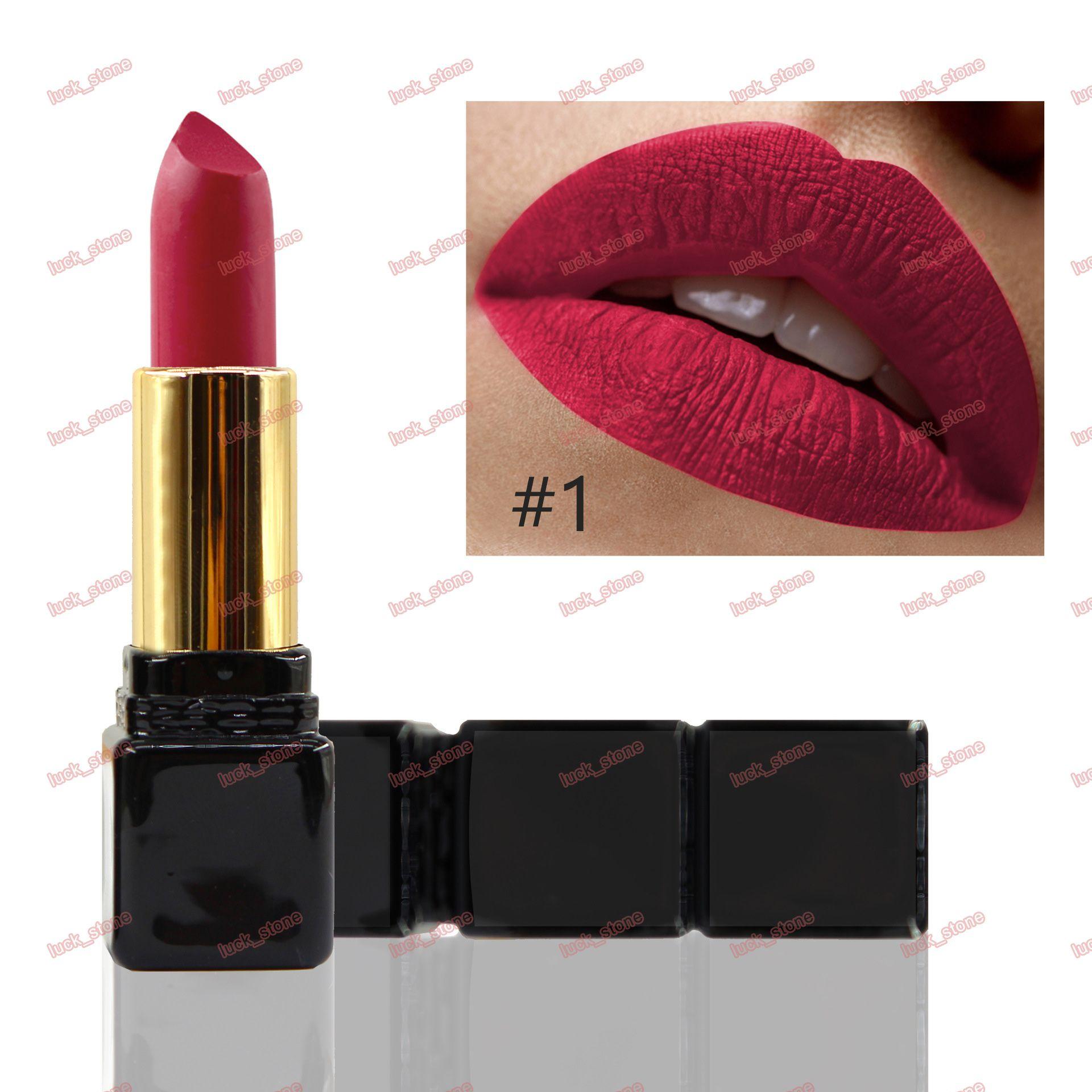 matt lipstick matte lip rouge non-stick cup long lasting no logo cosmetics black tube dayly makeup