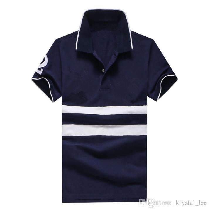 Патч 2 лошадь новый бренд рубашки поло мужская мода бизнес camisa masculina hombre манга corta marca блузка blusa сорочка homme WNS9893