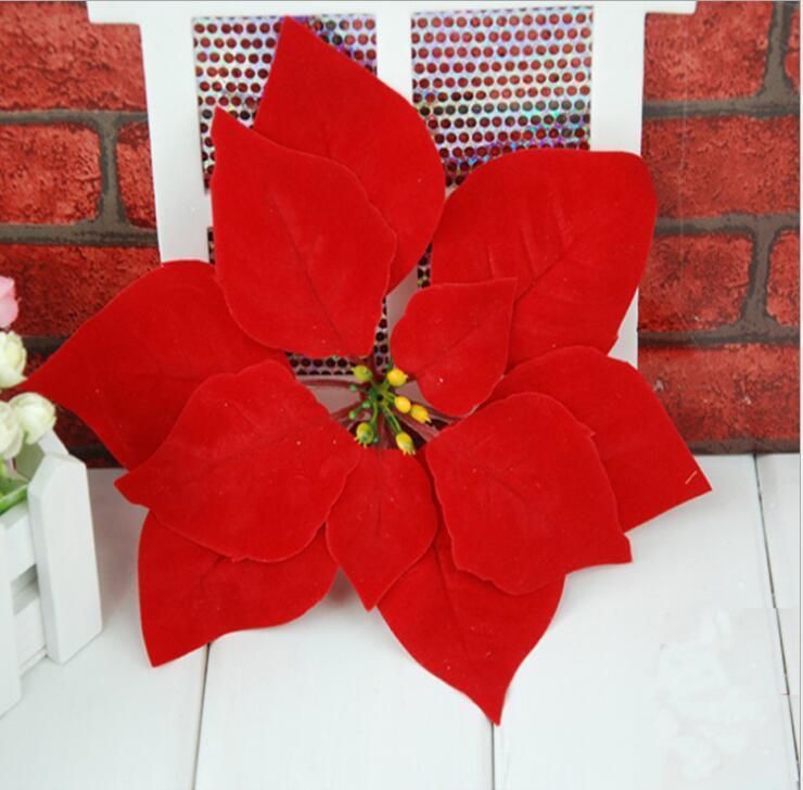 Acheter 20 CM Artificielle Rouge Fleur De Noël Poinsettia Têtes De Fleurs  Nouvel An Home Party Decor Fournitures De Noël Pendentif Goutte Ornement De  $34.48