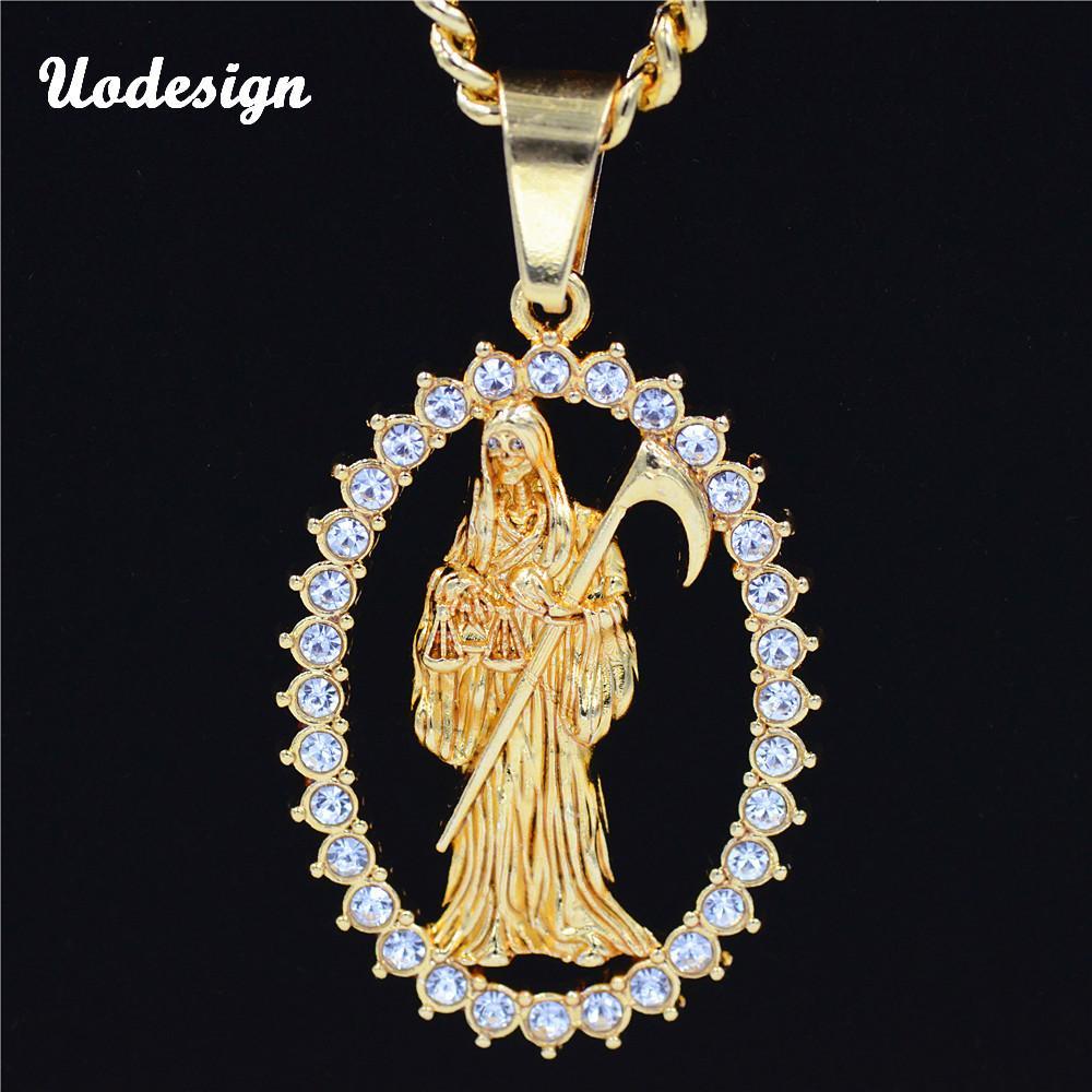 e2b8bf336767 Wholesale Uodesign Top Quality Gold Color Holy Saint Death Santa Muerte  Men s Biker Hiphop Pendant Necklace Heart Pendant Necklace Diamond Pendant  Necklaces ...