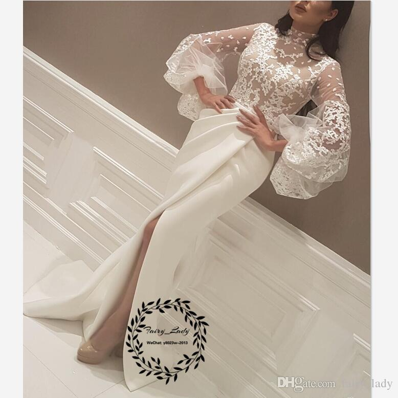 6ad4a02eadc Modest White Long Bishop Sleeves Mermaid Evening Dresses Arabic Dubai Women  2018 Sheer Lace Appliques Front Split Pageant Dress Prom Evening Dresses  For ...