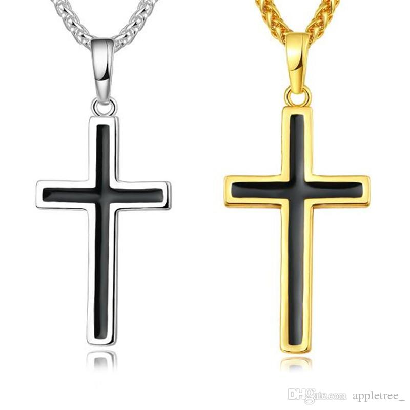 Wholesale religious pendant necklace cross pendants necklaces men wholesale religious pendant necklace cross pendants necklaces men jewelry 18k gold 925 silver plated man fashion accessories wholesale mens gift silver aloadofball Images