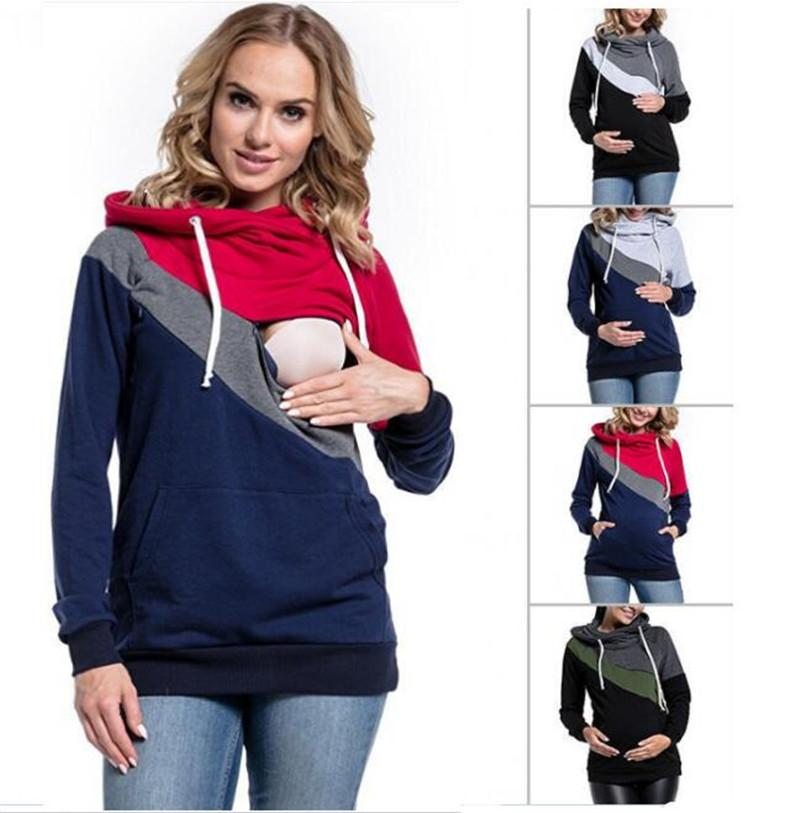 7f6787efbbc 2019 Mom Nursing Sweaters Baby Feeding Hoodie Mom Tees Splicing Breast Feed  Sweatshirts Pregnant Hooded Tops Maternity Patchwork Clothing Gifts From ...