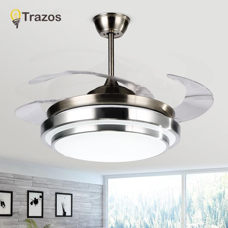 Großhandel Trazos Moderne Led 42 Zoll Unsichtbare Einziehbare Kristall  Deckenventilatoren Mit Beleuchtung Schlafzimmer Faltende Deckenventilator  Lampe ...