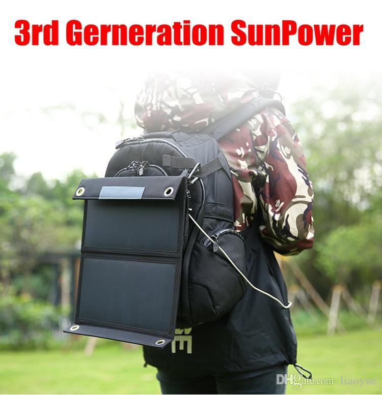 Top sale 15W Dual USB Solar Energy Cell Phone Power Banks Portable Outdoor Waterproof Solar Charging Foldable Cover Bags 3rd SunPower