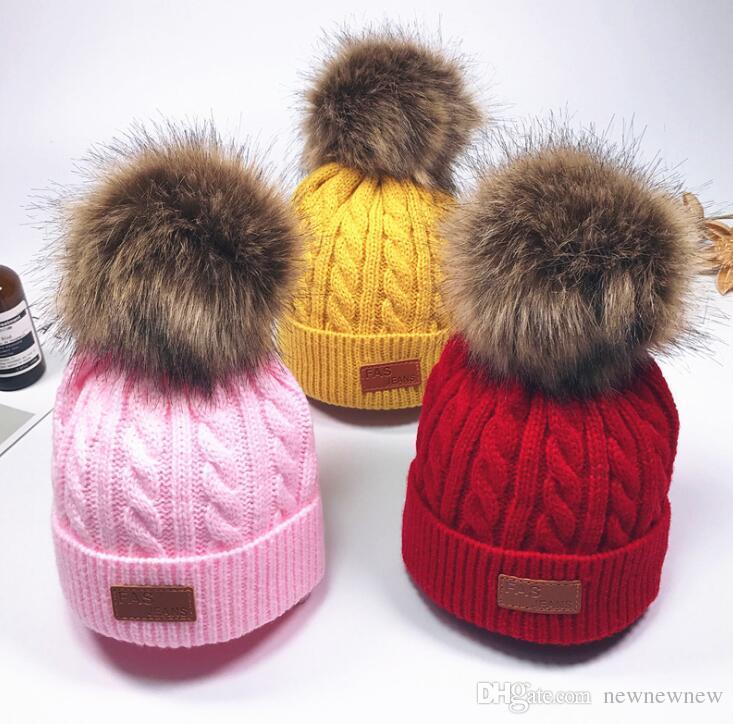 Baby Boy Girl Pom Hat Winter Warm Crochet Knit Bobble Beanie Cap