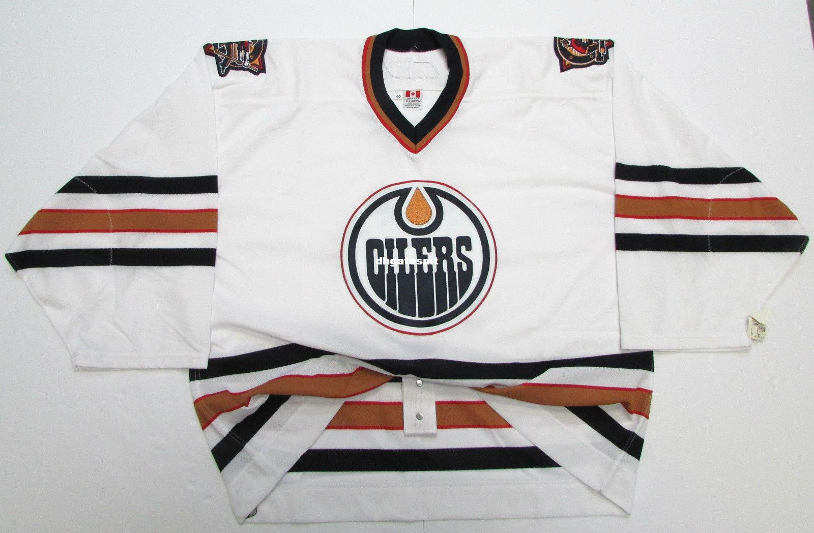 ... Hockey Jerseys  uk availability Cheap Custom EDMONTON OILERS AUTHENTIC  WHITE 6100 TEAM ISSUED JERSEY GOALIE CUT 60 Mens ... 7cf72600b