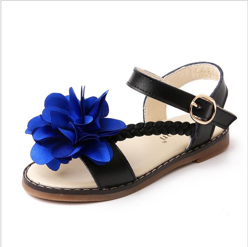 2018 summer new children's sandals leather Korean version of a flower soft bottom girls shoes children baby Princess shoes