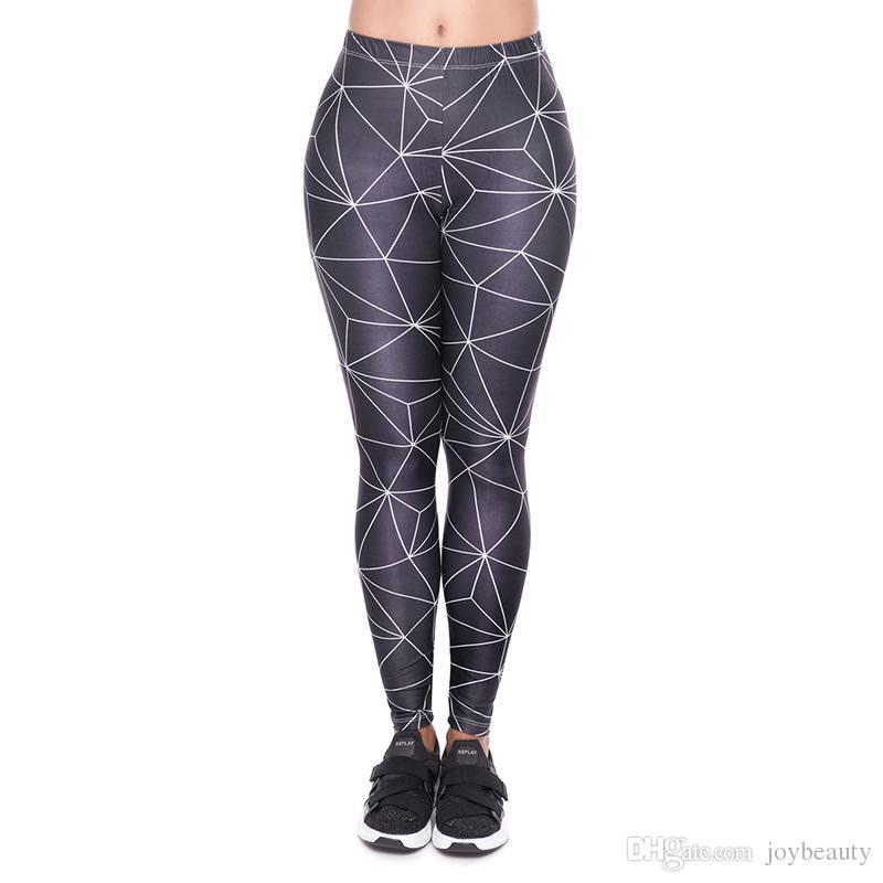 e8b00084c21 2019 Women Leggings Black Polygon 3D Print Girl Skinny Stretchy Jeggings  Yoga Wear Pants Gym Casual Workout Full Length Trousers Hot YX52051 From  Joybeauty