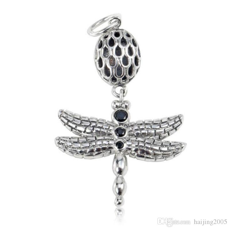 28f2355085761 New 925 Sterling Silver DIY Beads Pendant Accessories Dragonfly Pendant  Fits Pandora Charm Bracelets & Necklaces Jewelry making