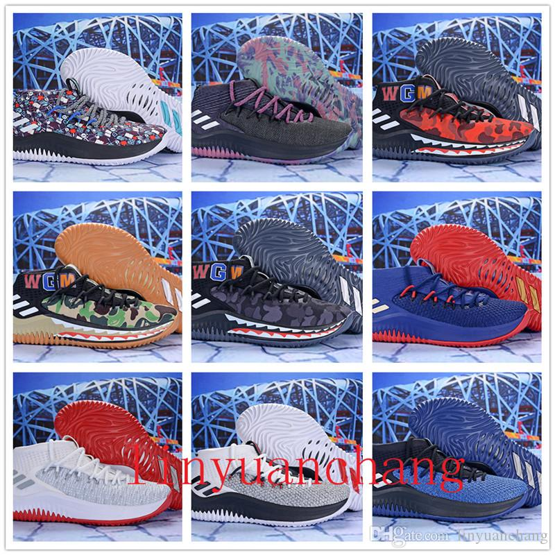 2018 Discount Damian Lillard 4 Shark Men Basketball Shoes Dame 4s Camo  Green Red WGM Sports Mens Trainers Zapatos Sneakers Chaussures 82173b013