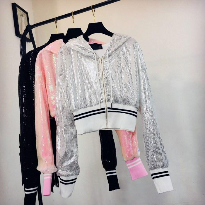 19979d0cc2 Womens Autumn Winter Sparkly Sequin Bomber Jacket V-Neck Streetwear Long  Sleeve Zipper Glitter Short Jackets Coat