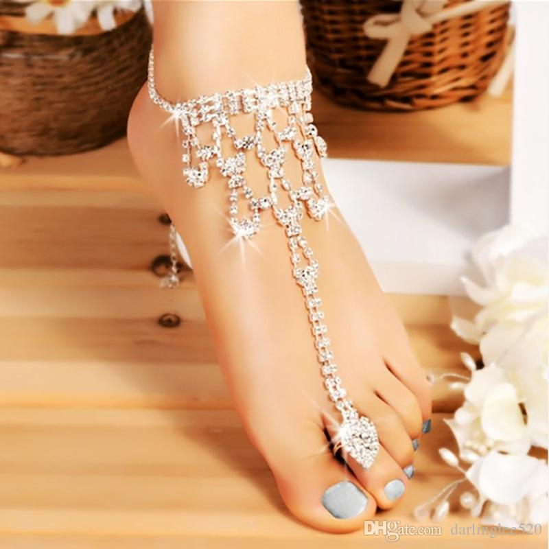2efd50bff Wedding Silver Ankle Bracelet Beach Barefoot Sandals Wedding Accessories  Jewelry Leg Anklet Chain Female Crystal Anklet For Wedding Guest Wedding  Gown Dress ...