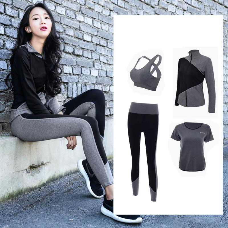 ec39b85eeed2a 2019 2018 New Sport Suit Women Yoga Set Fitness Hoodies Tights Plus Size Jogging  Breathable Exercise Sports Bras Gym Clothing Y1890306 From Shenping03