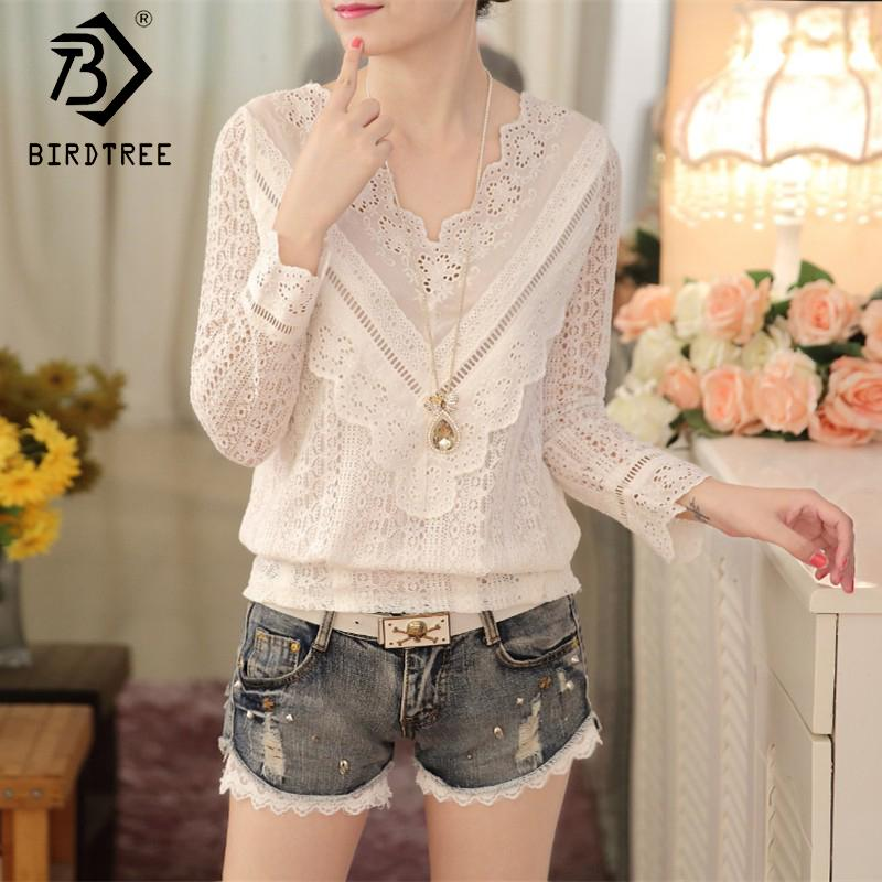 cba1615b0bc 2019 Spring 2018 Solid White Lace Blouse Women Shirts V Neck Top Lace Sweet Blouses  Female Clothings Korean Style New Arrival T81901C From Waxeer, ...