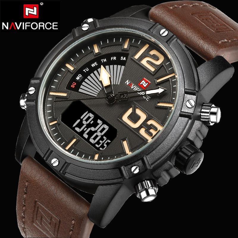 1e9a30021d0 Compre NAVIFORCE Relógios Homens De Luxo Da Marca De Quartzo Relógio De Couro  Analógico Digital Homem Relógios Desportivos Relógio Do Exército Relogio ...