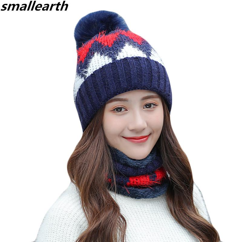 4a6a91d9d61 New Winter Women S Hat Plus Velvet Caps Cusual Knitted Hat Scarf Set For  Female Gorras Bonnet Girl Warm Mask Beanie Hats Collar Fitted Hats Straw  Hats From ...