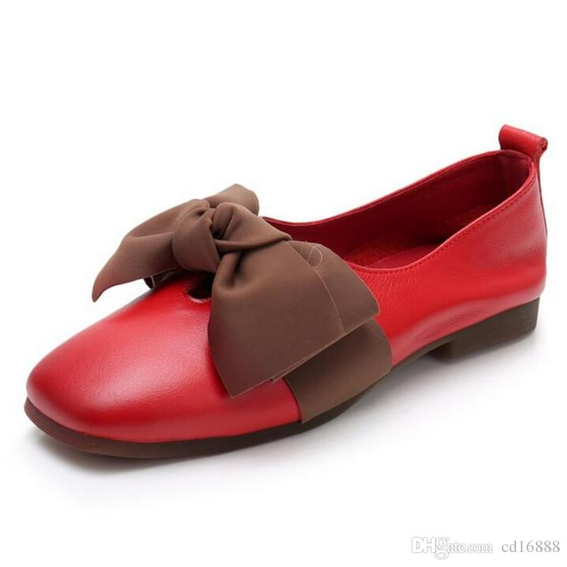 Most popular Square Head Spell Colors Bow Cowhide Leather Shoes flat shoes 2018 New soft comfort Fashion Casual Shoes Woman Flats plus size
