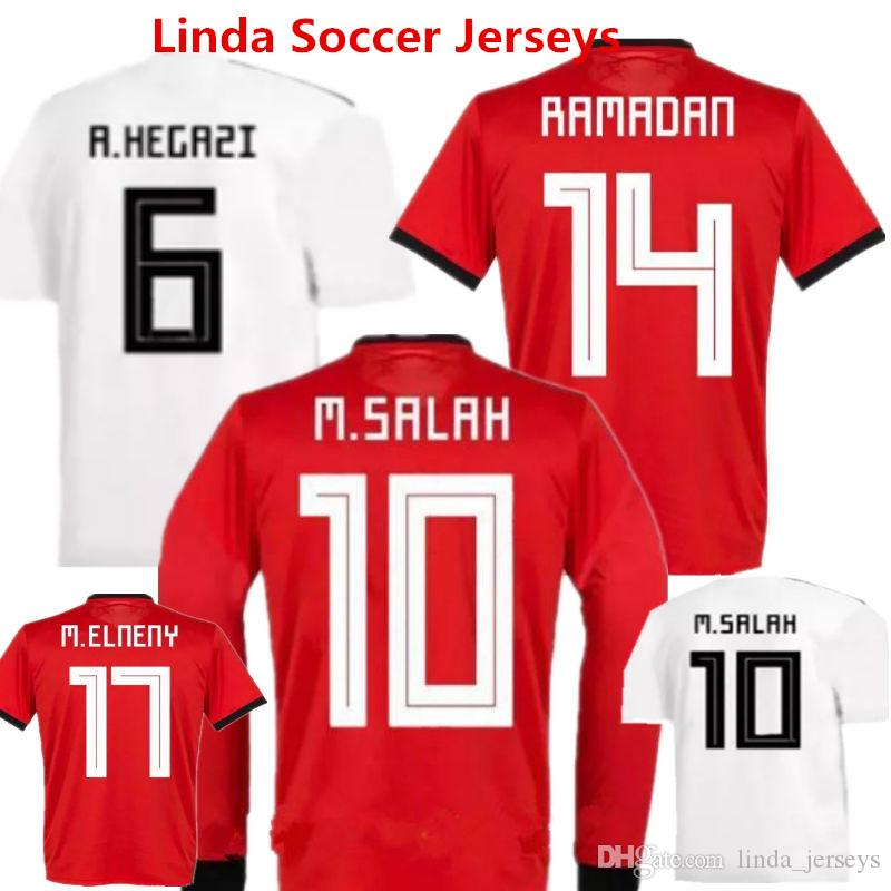 2c3fb9351 2019 Egypt Soccer Jerseys M.SALAH Home Red Football Shirts RAMADAN M.ELNENY Egypt  2018 World Cup National Team Long Sleeve Uniforms From Linda jerseys