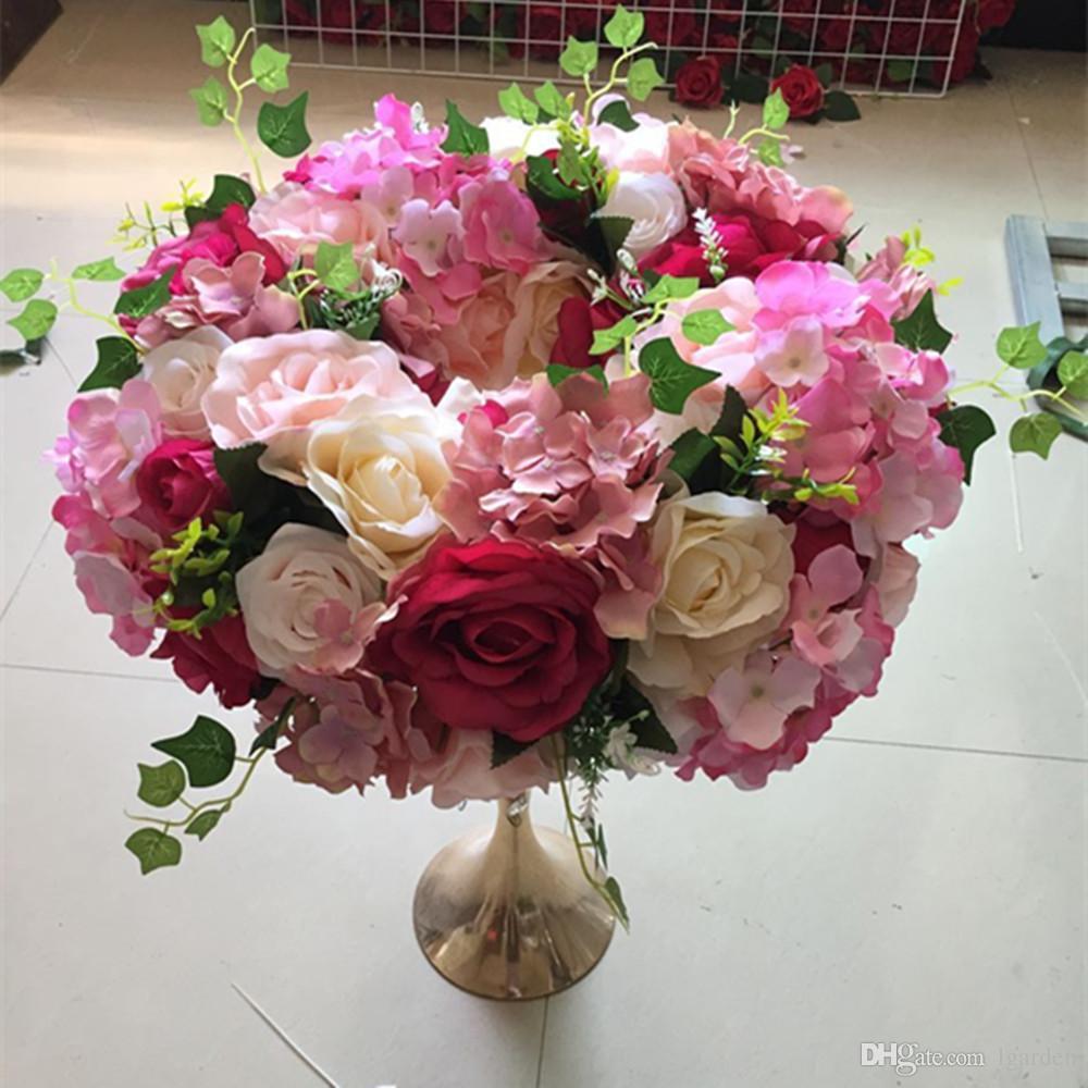 Couronne d'hortensia de rose de rayonne pour la décoration de coin de fleur et de pavillon de centre de table de mariage