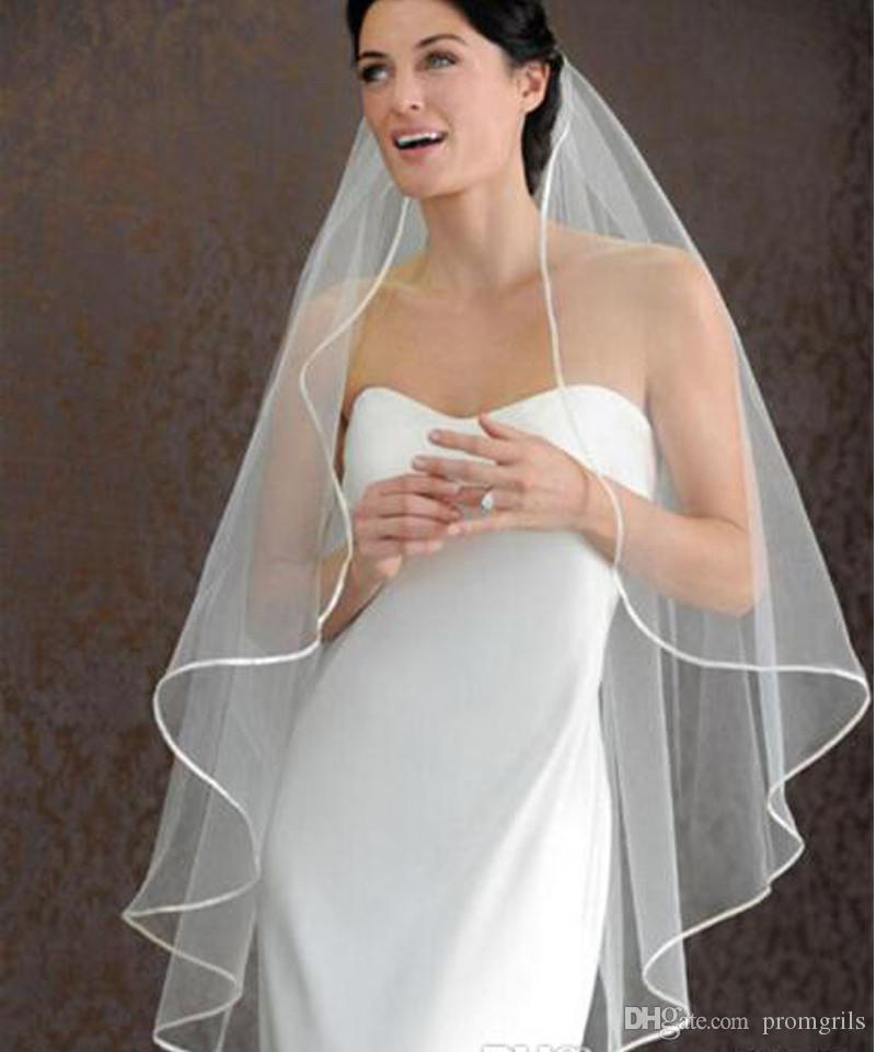 In Stock One Layer 1.5m Ivory Ribbon Edge Bridal Veil 2018 Cheap Hot Sale for Wedding Dress