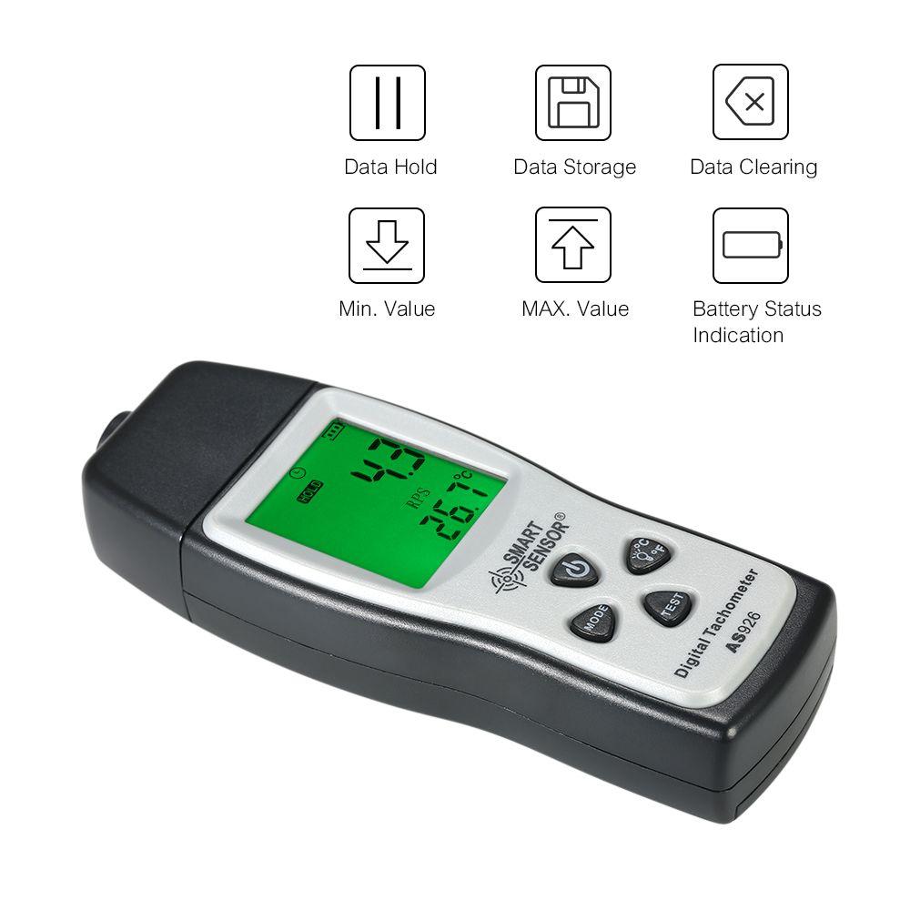 SMART SENSOR Digital Tachometer mini 100RPM-30000RPM Motor Speed Meter Laser Non-Contact Photo rpm meter + 3pcs Reflective Tape