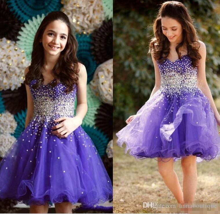 Compre Purple Sweetheart Vestidos De Fiesta Con Cuentas Brillantes ...
