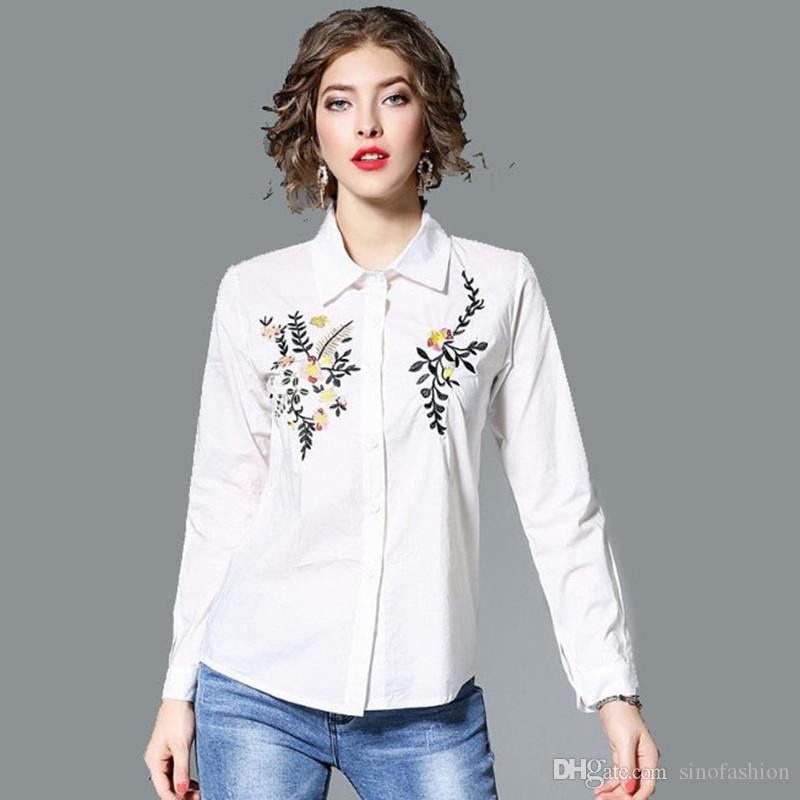 c6bc3d8458a0f9 2019 Womens Summer Tops Striped Casual Shirt Blouse Lapel Neck Long Sleeve Vintage  Classic Embroidery Floral Shirts From Sinofashion, $27.44 | DHgate.Com