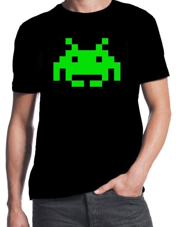 Space Invaders Green Alien Classic 70 s 80 s Arcade Game Nerd Geek Party  T-Shirt