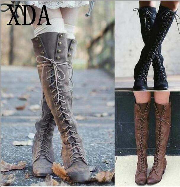 7db9e2fc88965 XDA Sexy Cross Tied Over Knee High Boots Women Flats Shoes Woman Low Heel  Rubber Flock Long Boots Winter Thigh High F727 Green Boots Cute Shoes From  Dirtegg ...