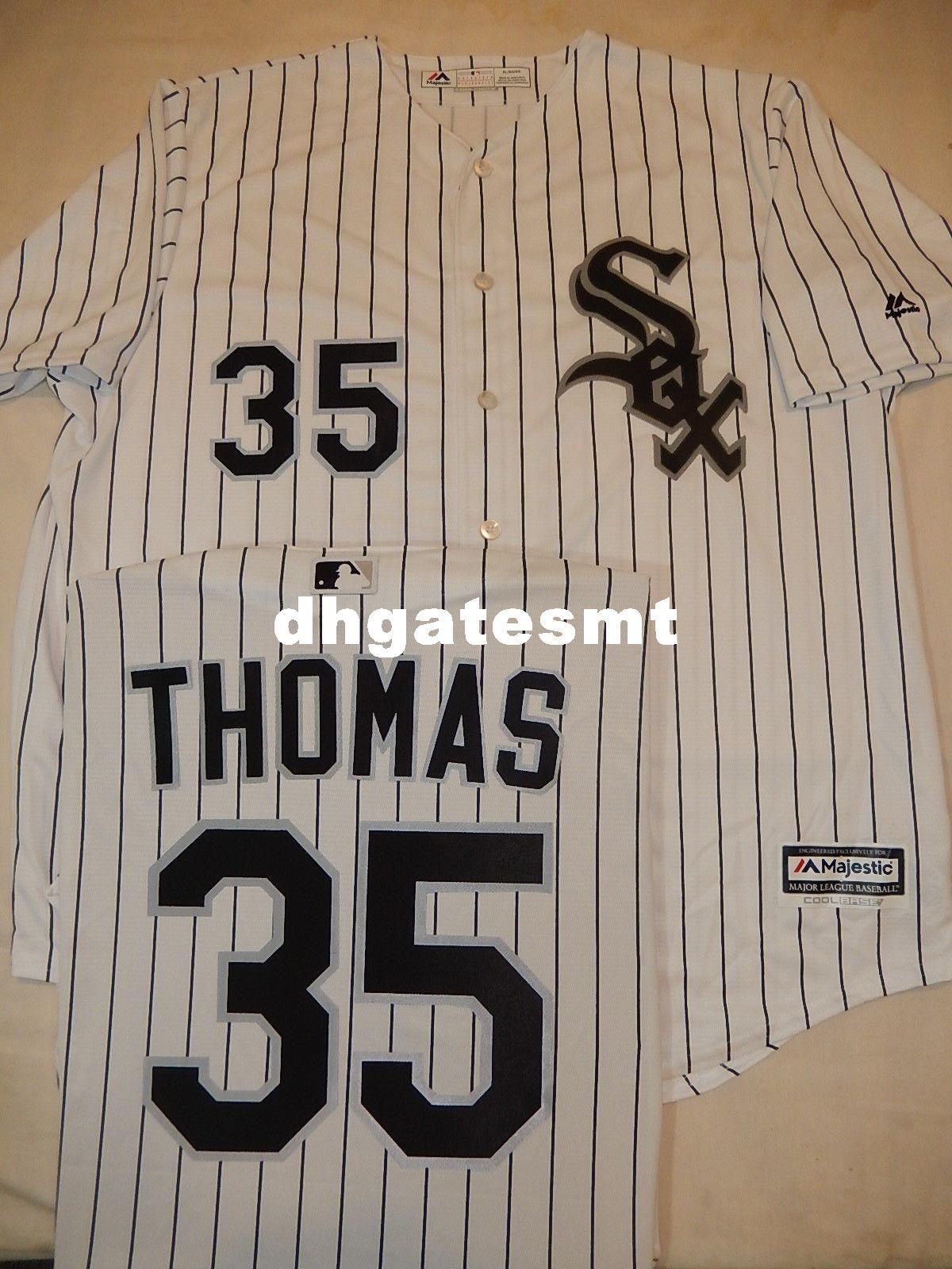 487b3cdea Cheap Wholesale MENS Top Chicago #35 FRANK THOMAS Shirt Cool Base ...