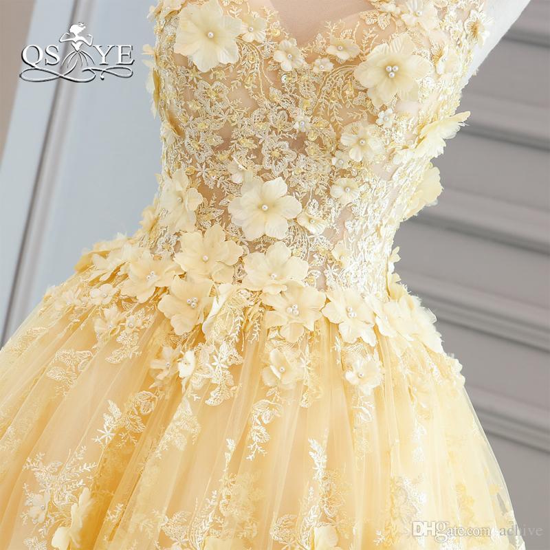 Amarelo vestido De Baile Longo Prom Dresses 2018 Elegante Querida 3D Floral Flores de Renda Até O Chão Vestidos de Noite Do Partido Do Vestido De Noivado Vestidos