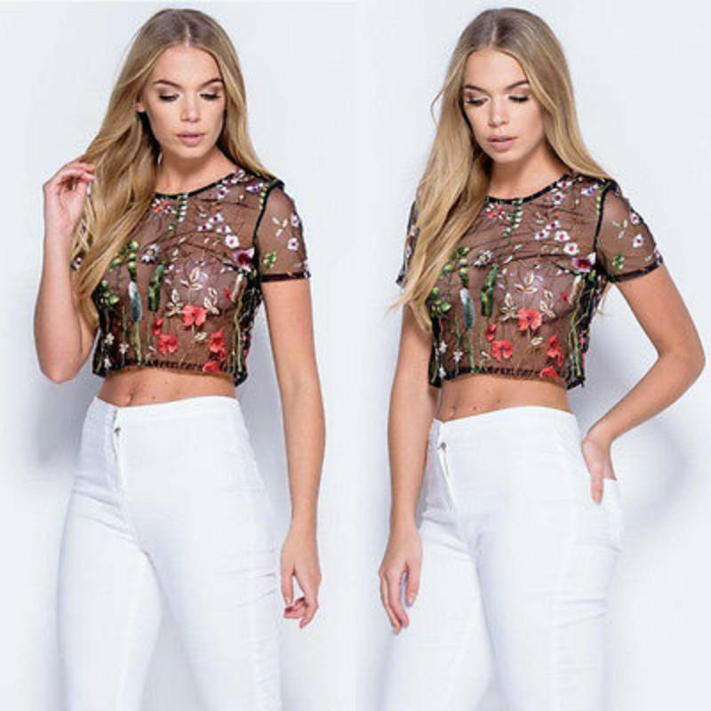 627cfa7dc8054 2019 New Women Sexy Mesh Flower Embroidery Bodycon Short Sleeve Tops  Grenadine Blouse Shirts Top Short Blouse Leotard Tops Black From Stepheen