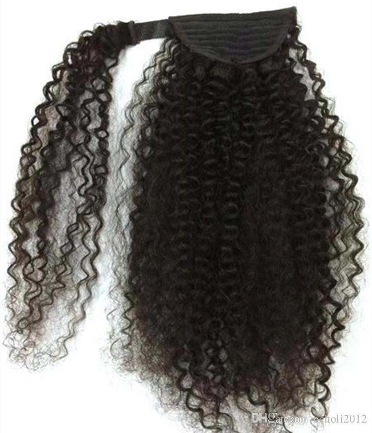 """Claw Clip Drawstring Ponytail 22"""" Long Fake Ponytail Extensions 100% Real Hair Pony Tails Human Hair Curly Hairpieces of Fiber Japanese 160g"""