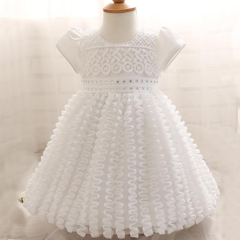 2018 Baby Girl Dress Newborn White Christening Gown 1 Year Girl Baby ...