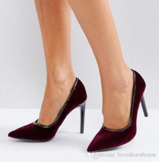 28ed8a564 Compre 2018 Nova Chegada Mulheres Cor De Borgonha Bombas De Sapatos De  Festa De Salto Alto Vinho Vermelho Bombas De Veludo Ponto Toe Sexy Sapatos  De Salto ...