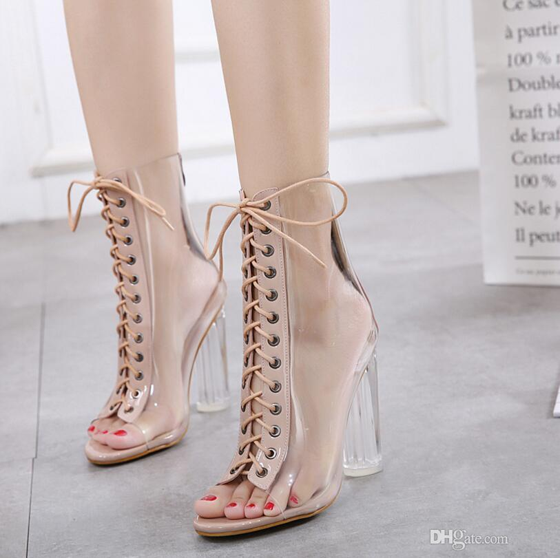 9b27216f0ce2 Brand PVC Women Pumps Sexy Clear Transparent Ankle Lace Up High Heels  Buckle Strap Gladiator Fashion Women Sandals Thick Heel Jelly Sandals White  Sandals ...