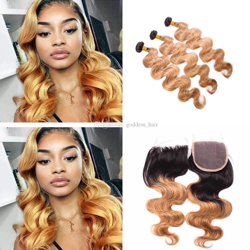 Ombre Body Wave Wavy Hair Bundles With Lace Closure Free Middle Part